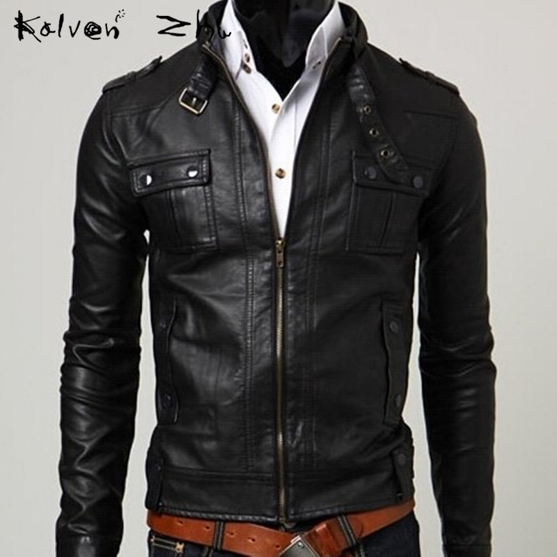 Solid 2015 Autumn New Fashion Black Brown Stitching Men's PU Leather Jacket Casual Slim Fit Baseball Collar M-XXL MJ075 - Karen Mok store