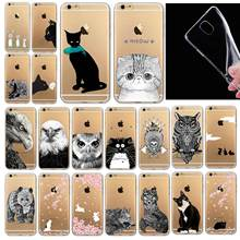Phone Bags Case Cover for iphone 6 6S 4.7″ Soft Slim TPU Transparent Soft  Cute Animal Cat Owl Rabbit Pattern Painted Style