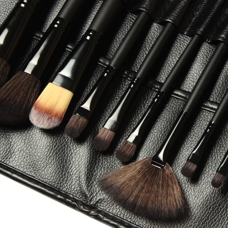 Free Shipping, Professional 15 Pcs Brand Mac Cosmetics Makeup Brushes Tool Make up Brushes Leather Bag(China (Mainland))