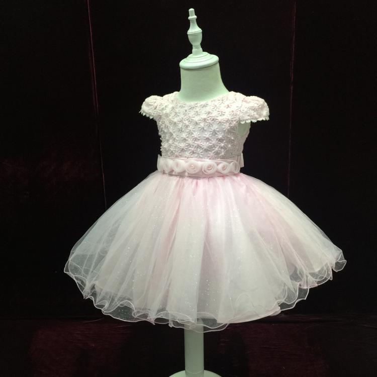 Wholesale Cute Short sleeve tulle Ivory lace girl Dress With flowers 2015 new pageant dresses for little girls Flower Girl Dress(China (Mainland))
