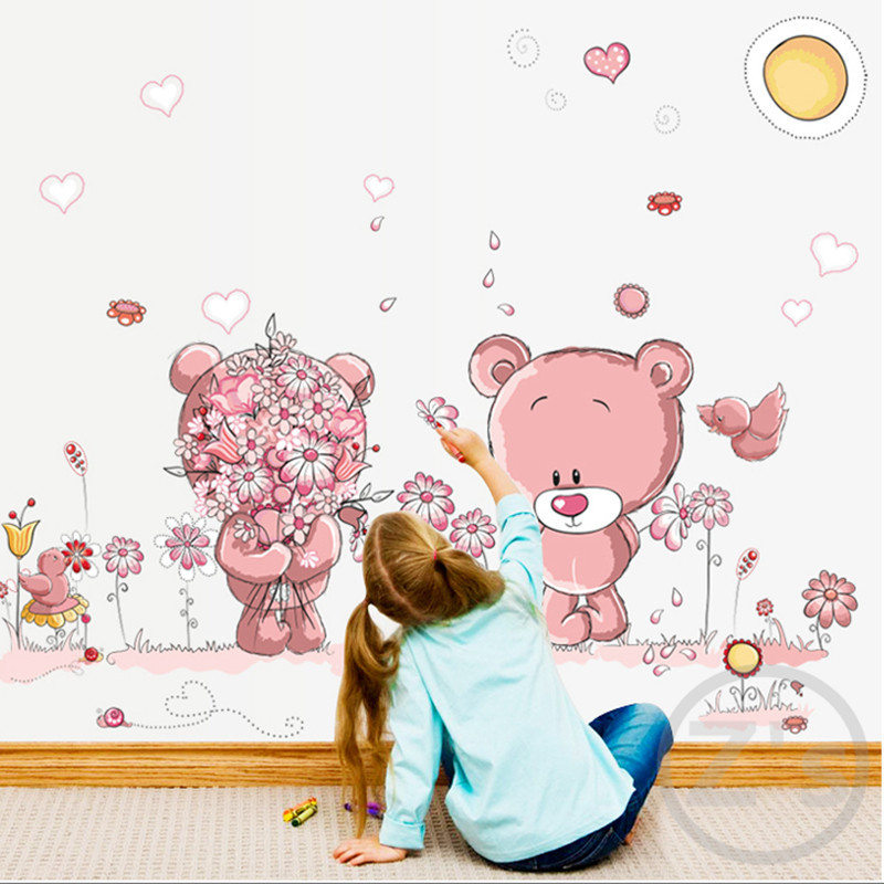 Pink teddy bear wall stciker lovely cute cartoon adhesive animals home decor for wall mural removable vinyl ay7227(China (Mainland))