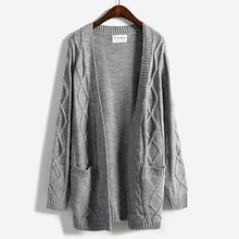 harajuku 2016 new winter coat thick twist sweater korean Girls long section long-sleeved knit cardigan(China (Mainland))