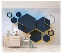 beibehang New fashion personality wallpaper 3d hexagonal mosaic modern minimalist geometric TV background wall papers home decor(China)