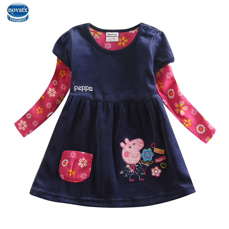 Retail spring baby girl dress long sleeve fashion kids girl clothes novatx  brand flower girl jean ... 4daa362355d1