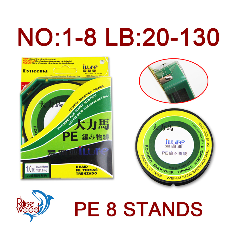Best cheap braided fishing line 100m 8 stands sinking braid fishing line 20 30 40 50 70 80 100 130LB spectra fiber material(China (Mainland))