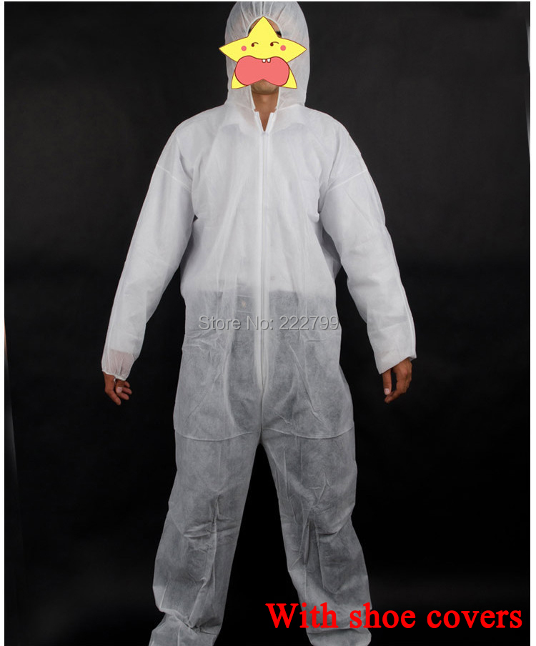 White one piece non-woven protective clothing bunny suit disposable chemical safety clothing With hat and shoe covers SC005(China (Mainland))