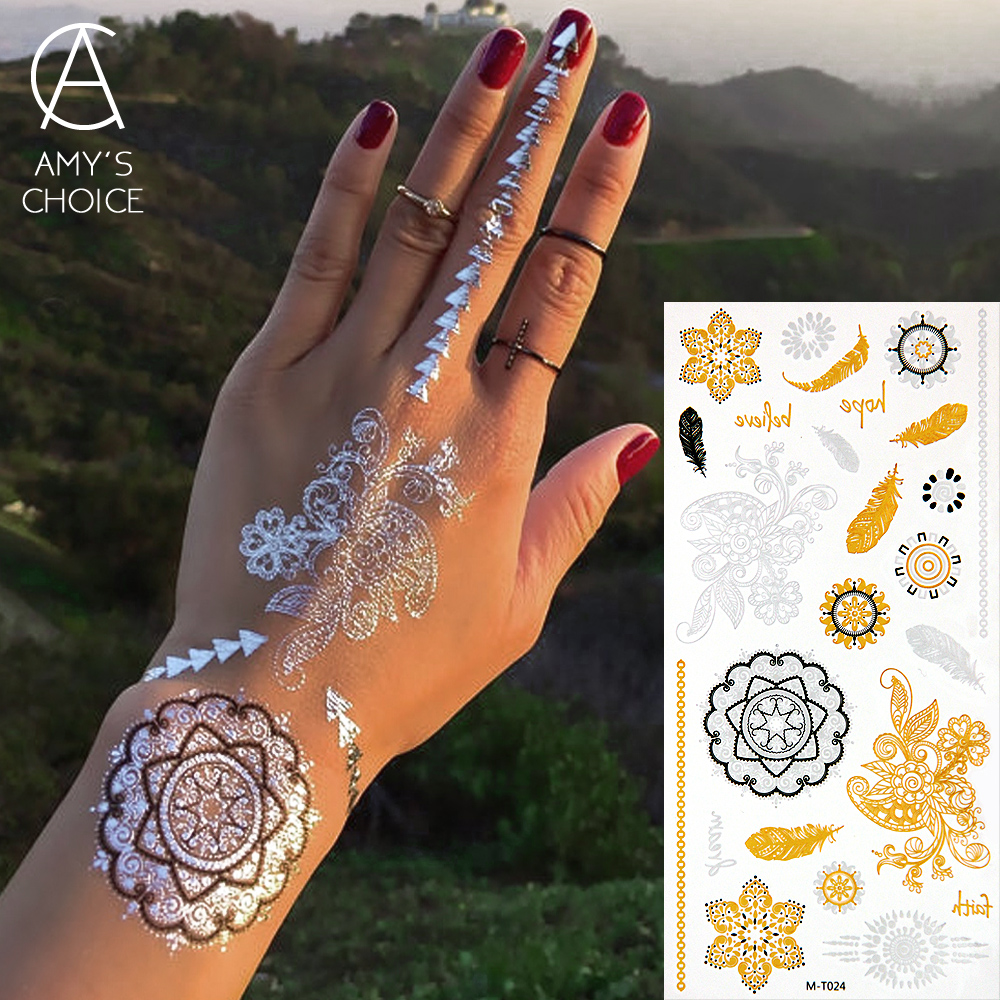 New Metallic Water Transfer Gold Silver men Body spray Art Temporary Tattoo sex products Flash Sticker For Women(China (Mainland))