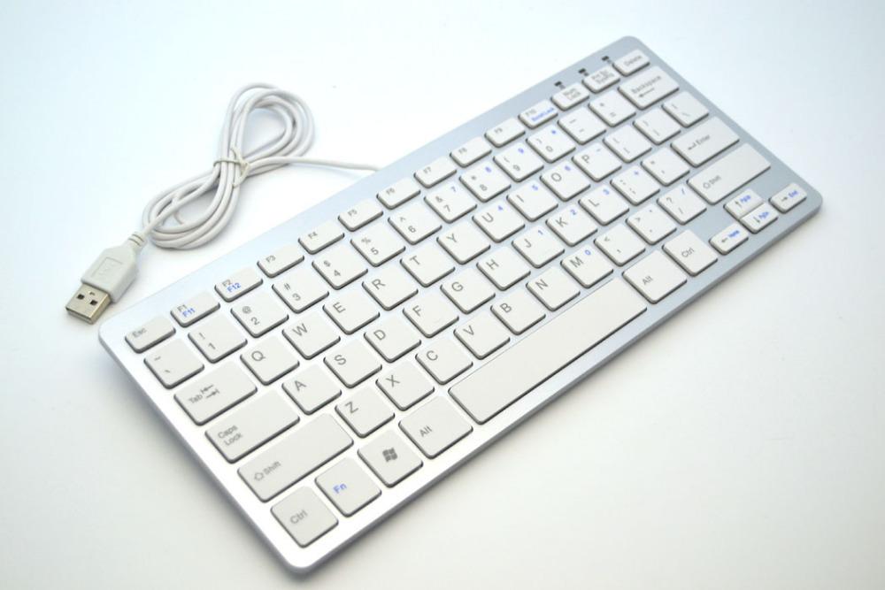 Silver Slim Silent Mute USB Wired Mini Keyboard for Windows XP Vista 7 8 PC Laptop(China (Mainland))