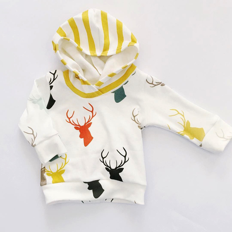 Infant Baby Boys Girls Autumn Outfit Clothes Hooded T-shirt Tops+Yellow Striped Long Pants Trousers