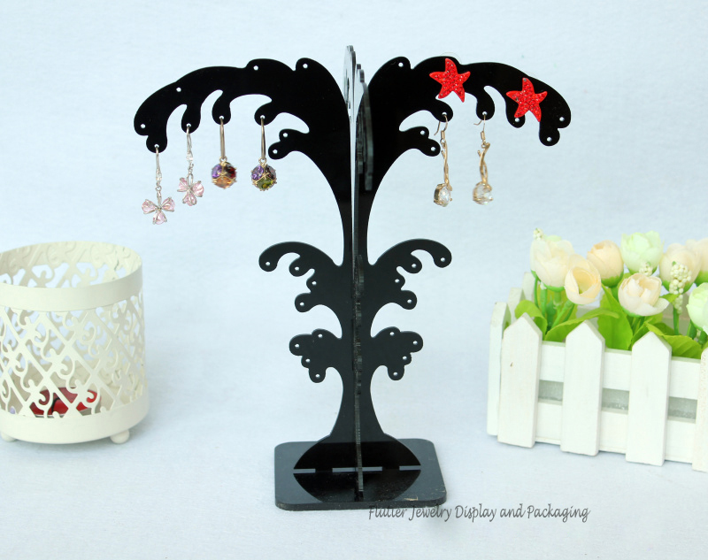 High Quality Black Acrylic Tree Earring Display Rack Earring Stud Holder Jewelry Display Stand Showcase 3pcs/lot(China (Mainland))