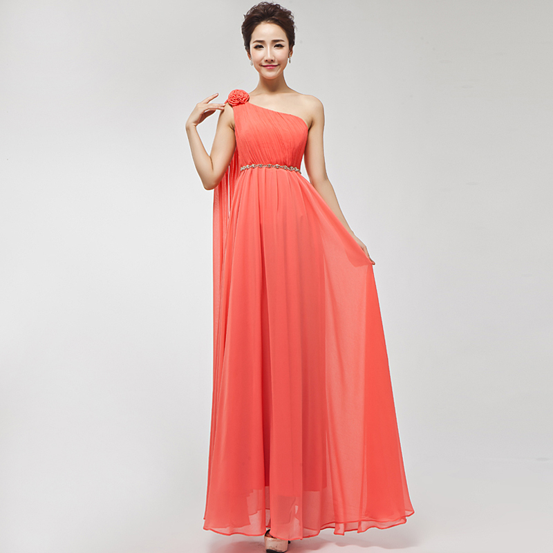 2014 A Line Floor Length One Shoulder Coral Colored
