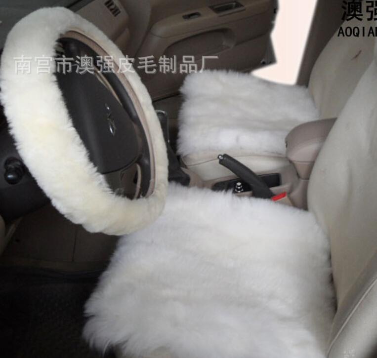 100% Natrual Whole Skin Sheep Fur Short Wool Car Seat Cover Wool sheep leather 45*45 back seat 45*135cm(China (Mainland))