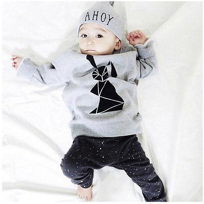3pcs Baby Boy Girl Organic Tops Long Sleeve Geometric Bunny Printed T-shirt+Pants Cap Outfits Set Casual Clothes UK 6-36 M(China (Mainland))
