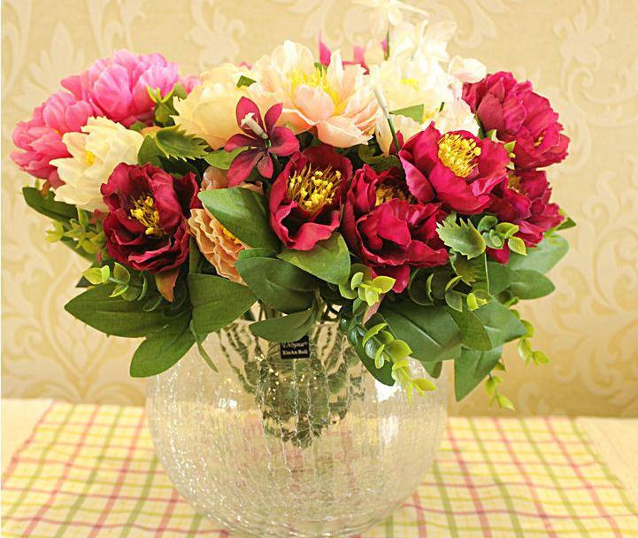 """Silk Peony (7 Heads/Piece) 36cm/14.17"""" Length Artificial Flowers Peonies White/Pink/Red/Hot Pink Color for Wedding Centerpiece(China (Mainland))"""