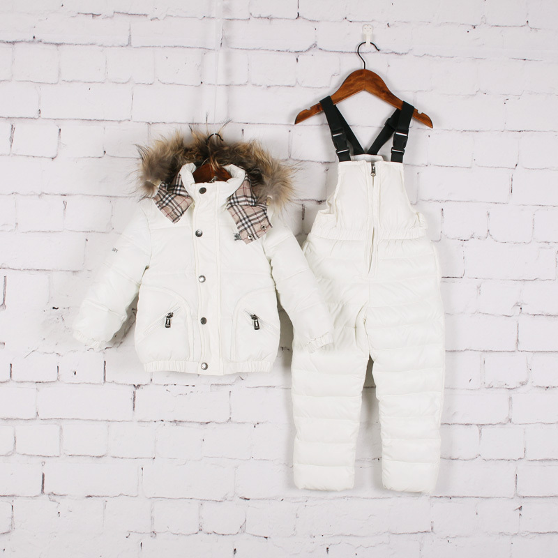 2015 winter ski suit Winter Clothing Set white duck down children warm thick windproof Down coat+jumpsuit outdoor clothing set(China (Mainland))