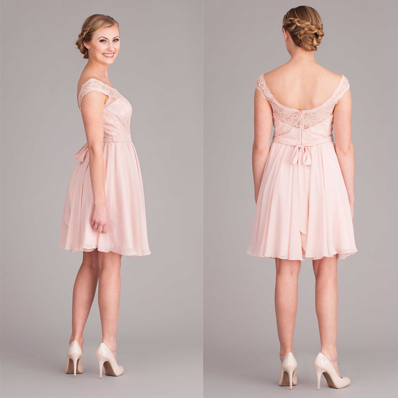 Pink Lace Wedding Guest Dress : Pink open back cap sleeve short lace bridesmaid dress with