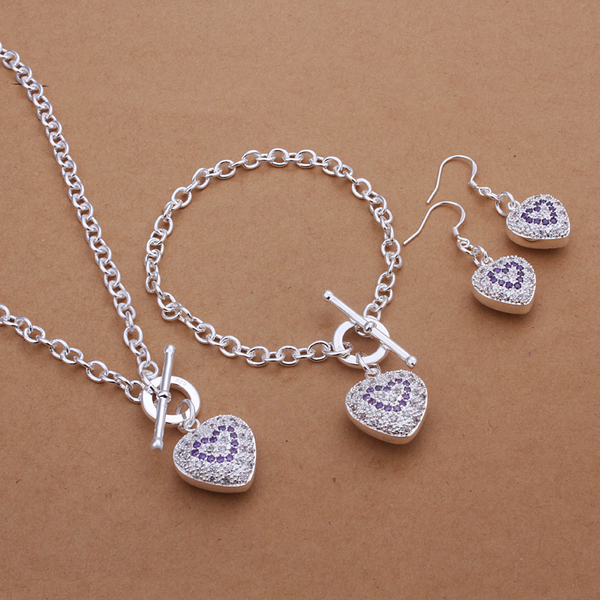Trendy 925 silver Solid Heart Pendants Crystal TO Neckalces Earrings Bracelets Jewelry Sets for Women Party Jewellry.S372(China (Mainland))