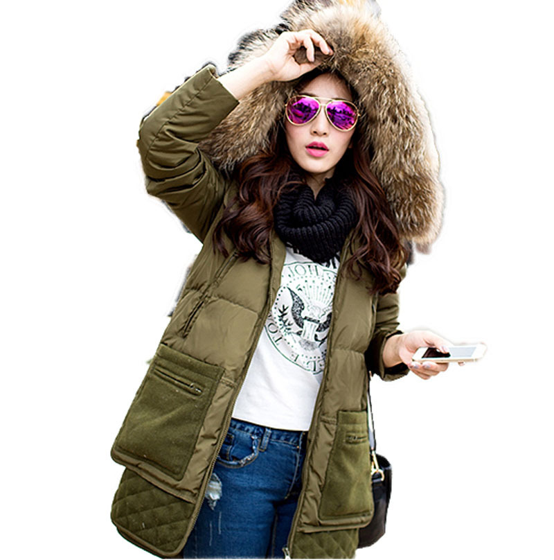 2015 Winter hot Long Thick Warm Duck Down Winter Jacket women Fur Collar Winter Parkas Hooded Coat Outdoor Down Jacket  BL713