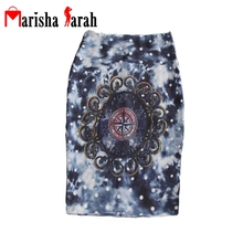 Bodycon Women Midi Brand Slim Hip Pencil Skirts Hot Sexy Vintage Pattern Print Ladies High Waist Jupe Tube Skirts Saia Faldas