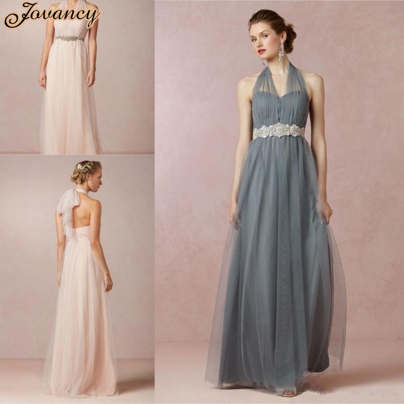 Vintage tulle long prom dresses a line backless beaded for Dark grey wedding dresses