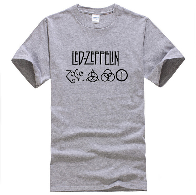 New Cotton Printed Short Sleeve Zoso T-shirts Led Zeppelin T shirt Tshirt Rock N Roll Band Top Tees For Men TH0150(China (Mainland))