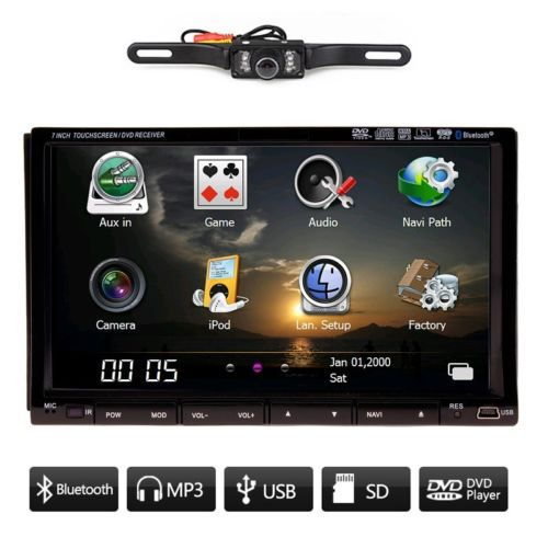 "Rear Camera Universal 7"" 2 DIN Car Stereo Audio GPS Navigation In-dash Car CD DVD MP3 Player BT+RDS+USB/SD+TV+IPOD+Free GPS Map(China (Mainland))"