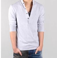 Autumn 2015 new men long sleeve T-shirt ,big size 4XL cotton v-neck collar skinny t shirt men, fashion mens tshirt,free shipping