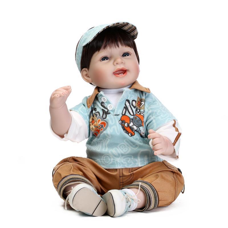 Фотография 22 inch 55cm silicone reborn baby boy dolls baby alive bonecas reborn kids toys birthday gift