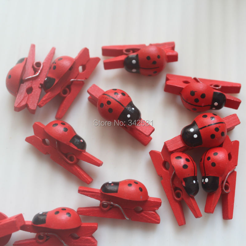 25 Mini Wooden Pegs with Ladybirds red perfect for Gifts Tags Cards Baby Shower Party Decoration Packing(China (Mainland))