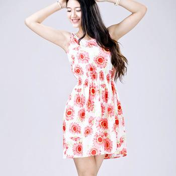 Feitong 8 стили мода 2015 женские летние свободного покроя богемское флористическое отпечатано рукавов пляж шифона платье Большой размер бесплатная доставка