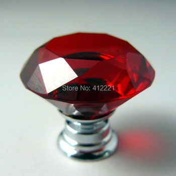 """NEW Design Free shipping 10 X 30mm / 1.20"""" Decorative Natural Red Diamond Vintage Crystal drawer kids knobs for dresser from CN"""