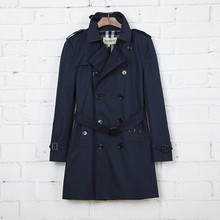 2016 New Autum Winter Men Long Trench Coat Plaid Collar with Buttons England Style Top Quality 2 Colors Free Shipping S-XXL(China (Mainland))