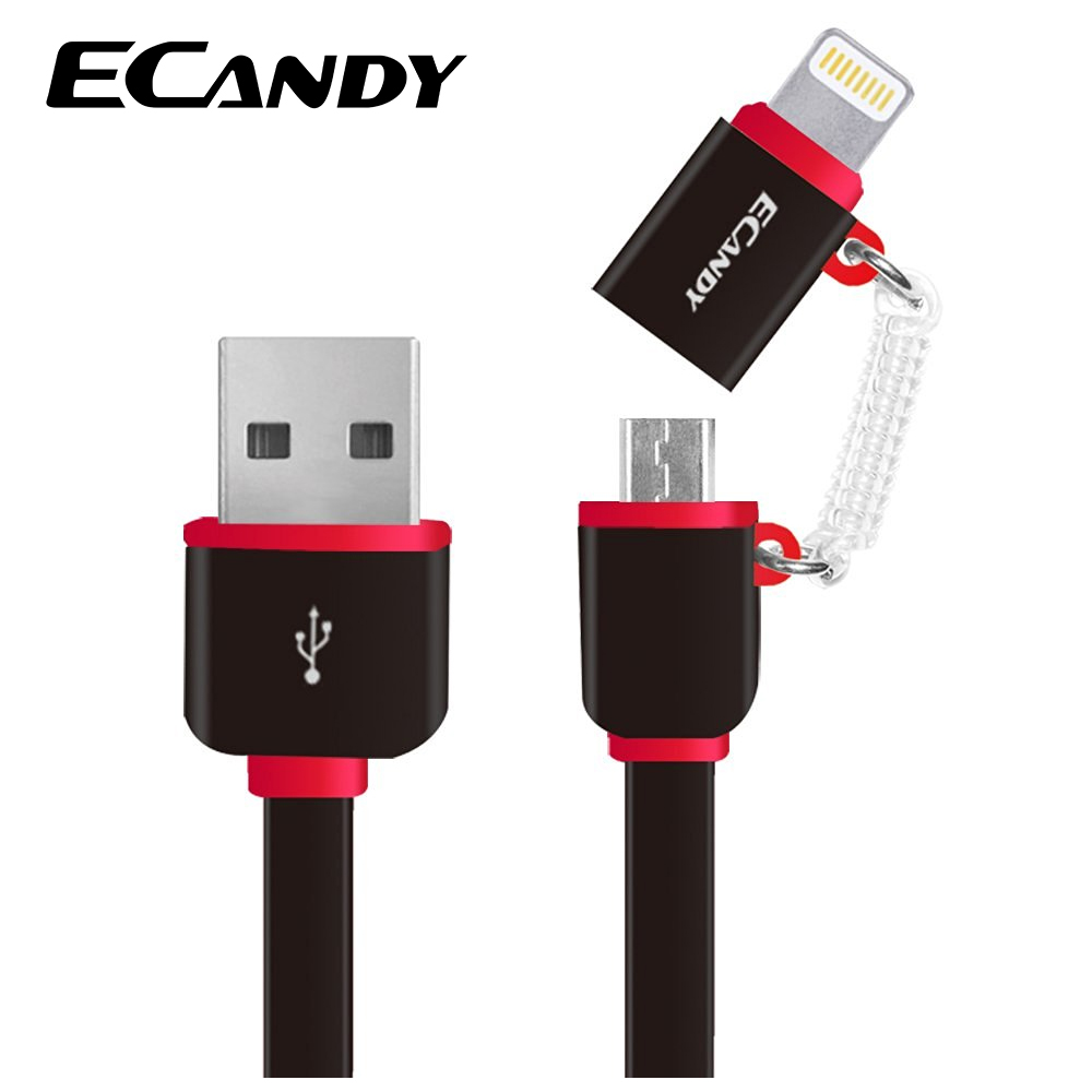 ECandy 2-in-1 Micro USB Cable For Lightning Cable for iPhone 5s 6s/iPad/iPod MFI Certificated Quick Charge Android Smart Phones(China (Mainland))