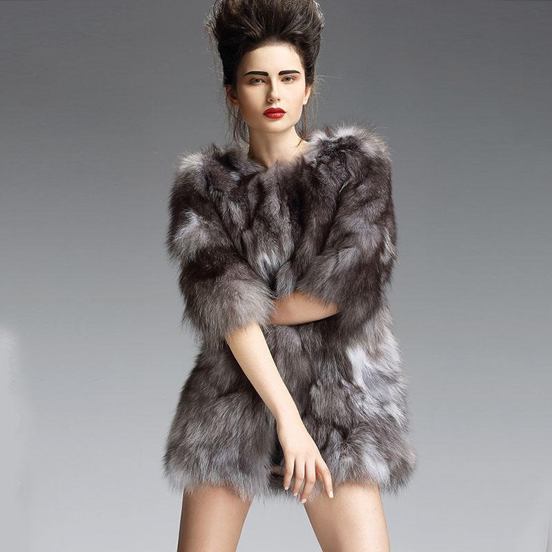 Women Noble Genuine Fur Jacket Real Fox Fur Coat Jacket Coat Gray Women Real Fox Fur Long Coats for Women Fashion Design(China (Mainland))