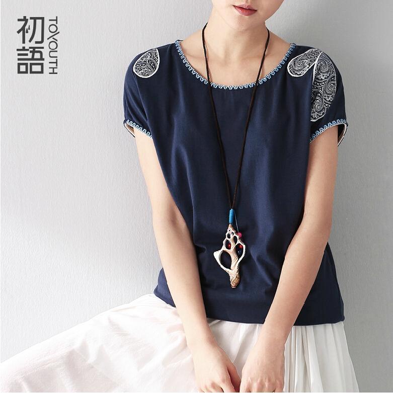 Toyouth 2016 Summer Clothing Women Minium Blue T-Shirts Pattern Printed Short Sleeve Casual Loose T-Shirts Ladies Tops(China (Mainland))