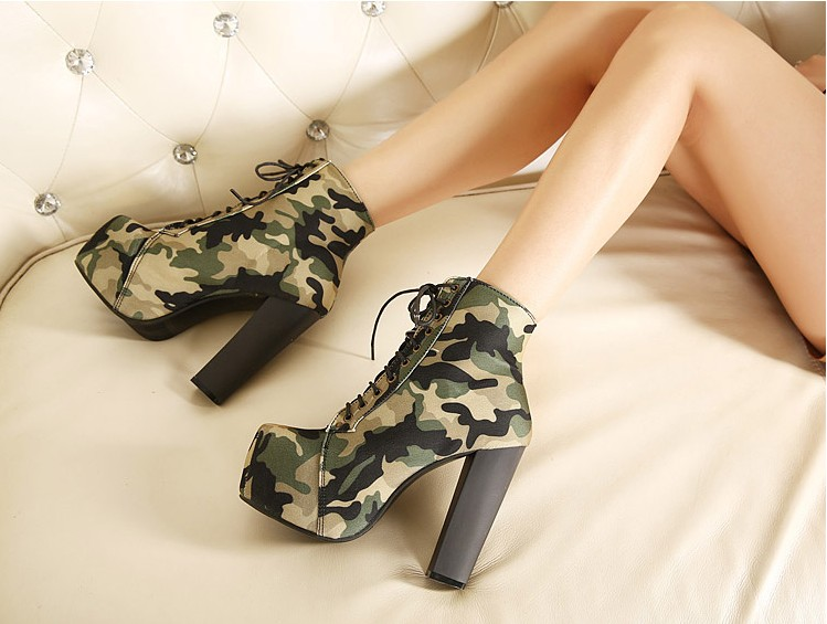 High Quality Camouflage Martin Boot women Military Army Camo Boot ladies Thick chunky heel platform shoes<br><br>Aliexpress