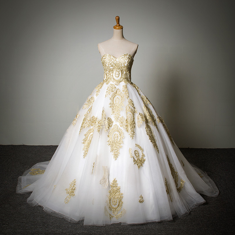 Buy a line prices in euros embroidery for White and gold wedding dresses