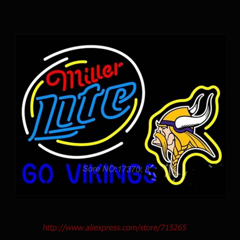 Miller Lite Go Minnessota Vikings Neon Sign Neon Sign Houston texanss Sign Real Glass Tube Team Sign Lighting Bright Color 24*31(China (Mainland))