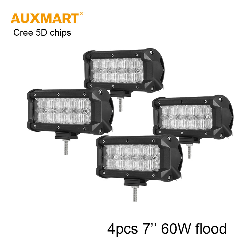 Фотография Auxmart 4pcs 7inch 60W LED light bar Cree 5D chip flood beam offroad work light for SUV ATV 4x4 4WD truck trailer pickup 12v 24v