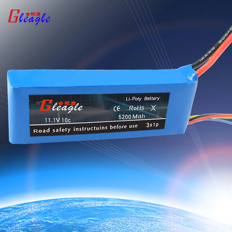 Free shipping Gleagle TOP quality 5200mAh11.1V 10C 3S Lipo Li-Po Battery Grade A For RC Helicopter & RC Airplane & RC Car