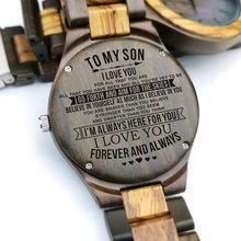 A mi hijo, siempre te llevo en mi corazón de papá o mamá grabado de grabado reloj de madera de cebra de Madera sándalo negro regalos de los hombres(China)