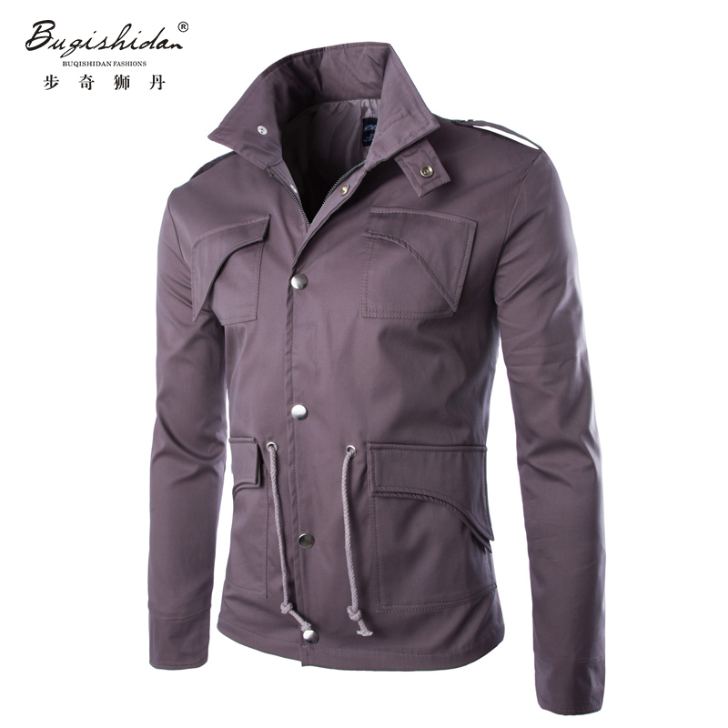 New Arrival Fashion Men Jacket Coat Casual Wear 4XL Preppy Style Early Winter Solid Waist Drawstring Men Ouewear(China (Mainland))