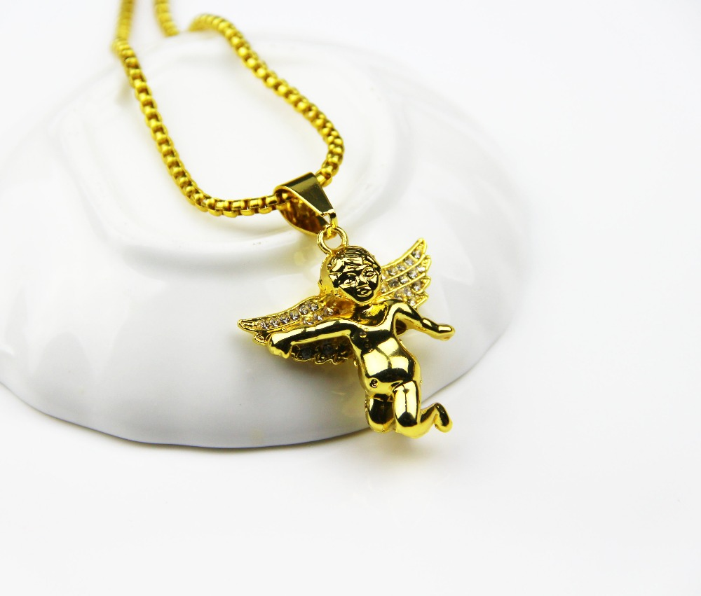 Fashion Jewelry 24k Gold Plated Spread Your Wings And Charm Micro Angel Piece Necklace For Men(China (Mainland))