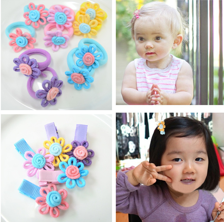 10 Pcs (5 Pairs) Fabric Cloth Flower Hair Clips Baby Girls' Safety Clips KIds Hair Accessories(China (Mainland))