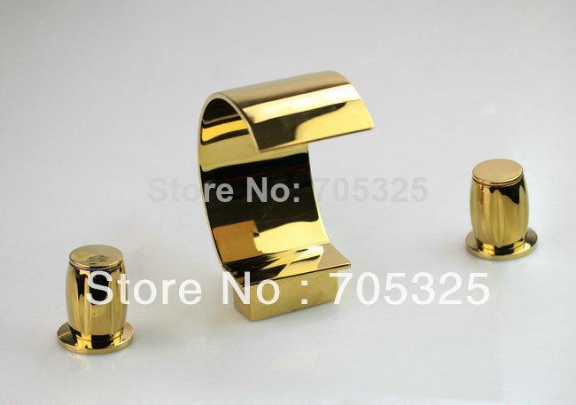 3 Pcs Golden Color Ceramic Dual Handle Brass Chrome Basin Tap Mixer Deck Mounted Install Bathroom Bathtub Faucet Set AD-1128(China (Mainland))
