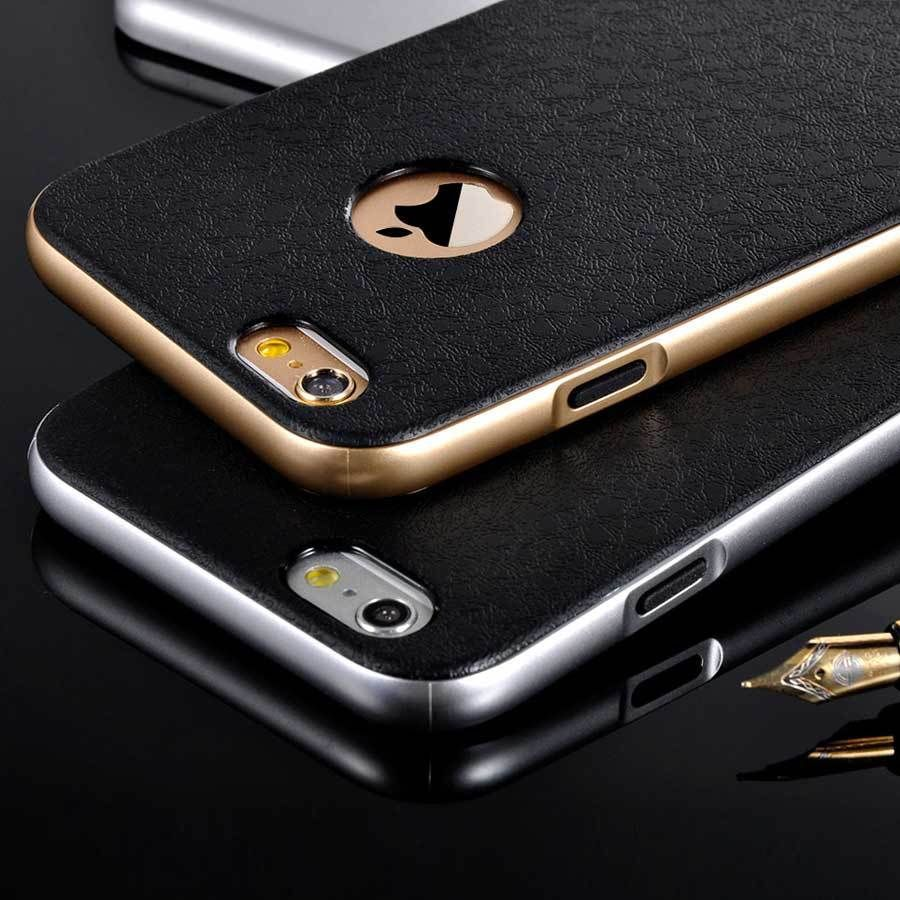 """Luxury Soft Rubber TPU Phone Cover Cases For iPhone 6/s Plus 5.5"""" With Plastic Gold Frame 2 in 1 Phone Housing Big Discount(China (Mainland))"""