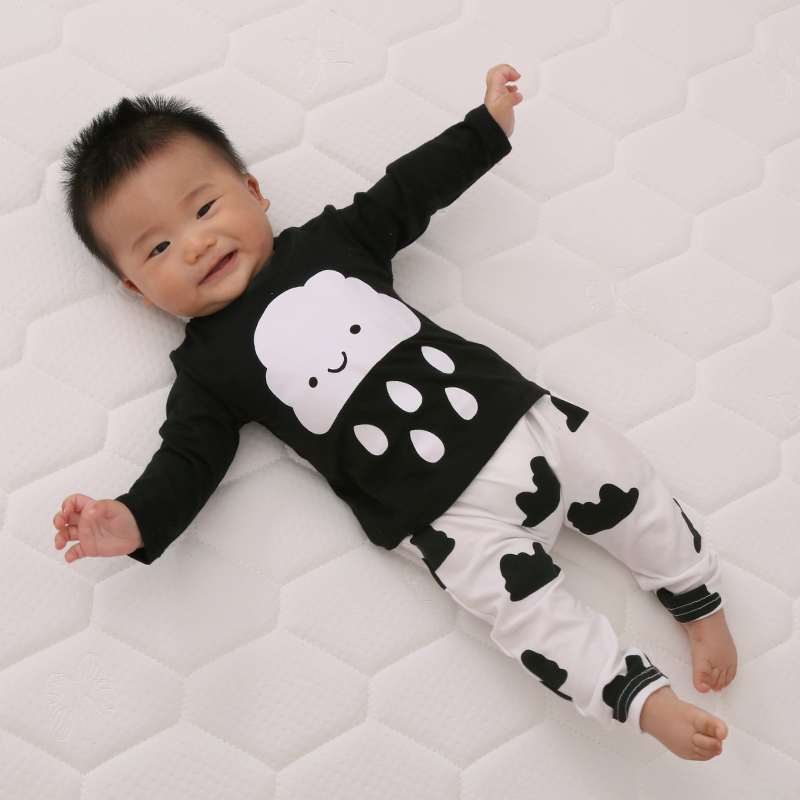 2016 New cute kids clothes girl/boys baby longsleeve cotton T-shirt+Pants suits retail newborn baby children suits fit 0~2 years(China (Mainland))