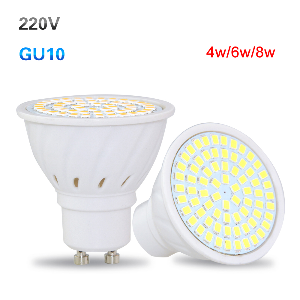 New Super Bright GU10 LED Spotlight AC 220V 230V 240V the leds 4w 6w 8w Bombillas Lighting Bulbs 2835 LED Lamps Indoor(China (Mainland))