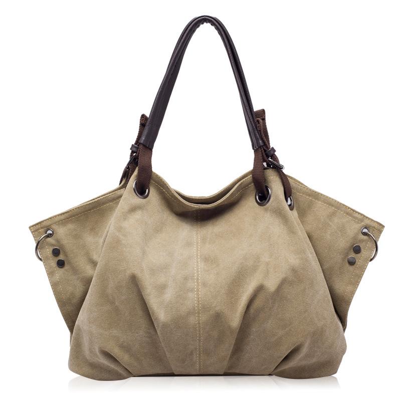 Sale High quality washed canvas bag women handbag big tote bag shoulder messenger bag bolsas ladies handbags free shipping(China (Mainland))