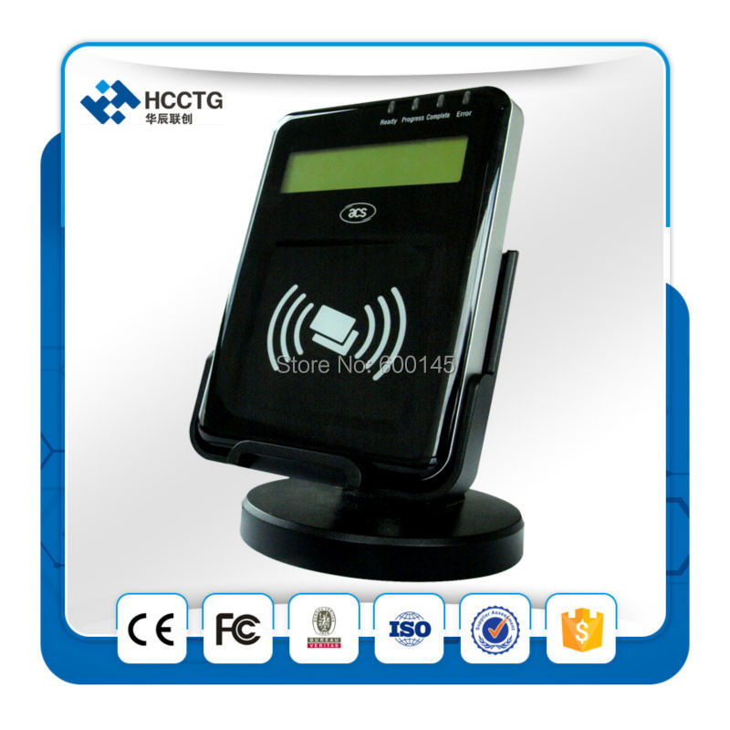 13.56MHZ LCD USB PC-Linked NFC Contactless Reader Writer Support ISO14443 A B Card with free sdk kit For E-Bank/Pay -ACR1222L(China (Mainland))